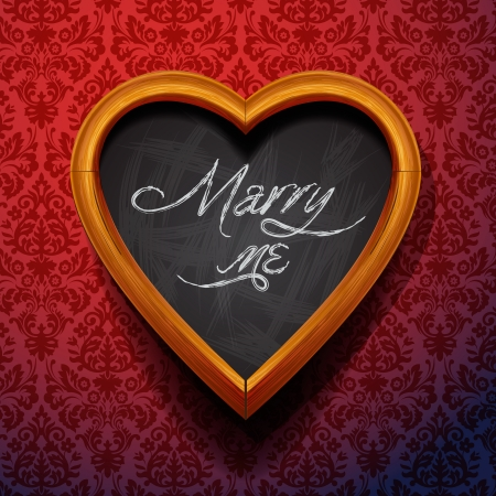 marry me: Marry Me written by chalk on heart shaped board, vector Eps10 illustration.
