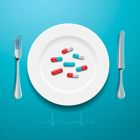 Pills on the plate, vector Eps10 illustration. Vector
