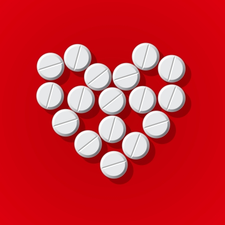 Pills in heart arrange on red background, vector Eps10 image. Stock Vector - 22298982