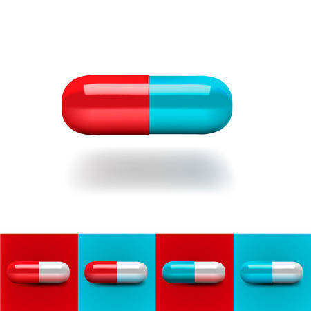 blue pills: Pills in red and blue, vector Eps10 illustration. Illustration