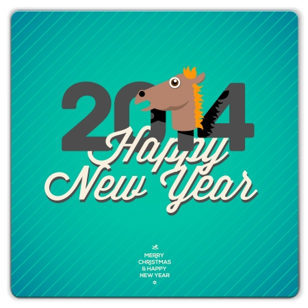 New Year card 2014 year of the blue horse, vector Eps10 illustration  Vector