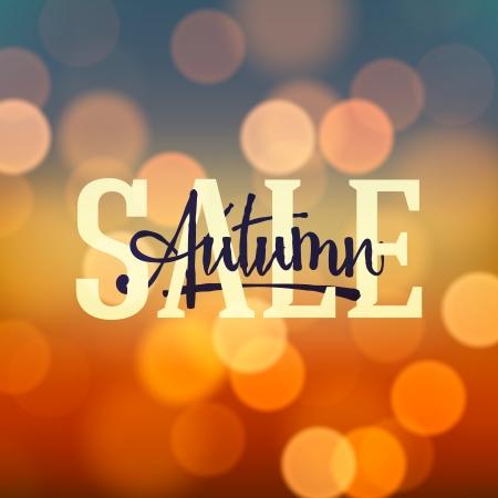 Autumn Sale poster bokeh background  Vector