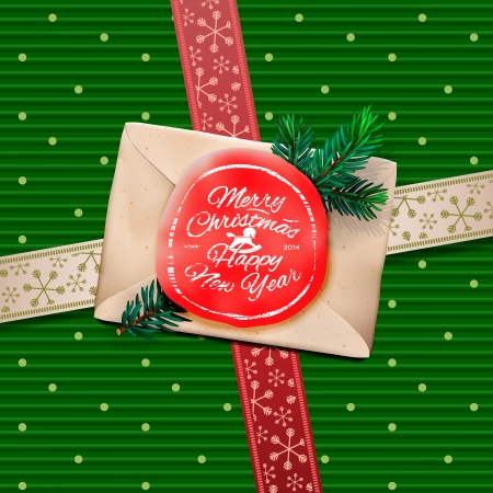 Christmas Greeting Card, Merry Christmas the letter with red wax seal or stamp on a gift box. Vector