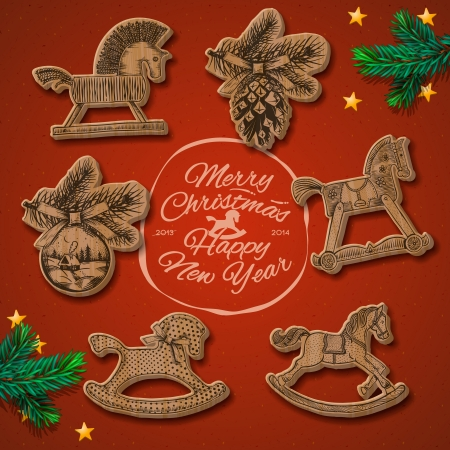 Merry Christmas and Happy New Year vintage card with rocking toys horses, vector Eps10 image. Illustration