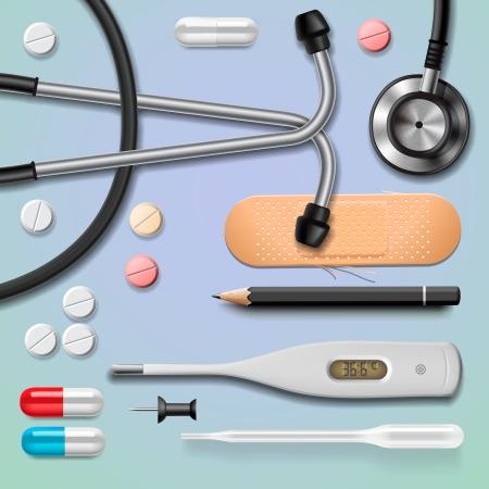 blisters: Attrezzature mediche, isolato, immagine vettoriale Eps10.