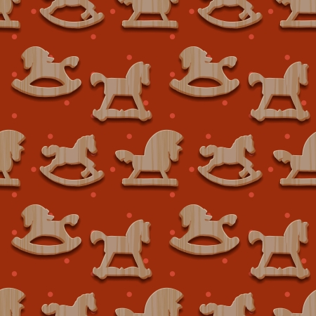 Christmas seamless pattern with rocking toys horses, vector Eps10 illustration. Vector
