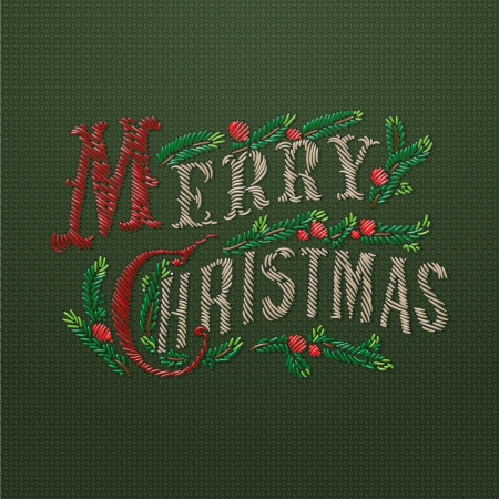 embroidered: Embroidered Merry Christmas card