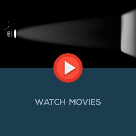 Play movie button, flat design. Vector