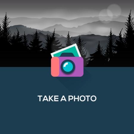 �cran plat: Photo camera web design ic�ne plat Illustration