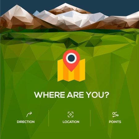 Flat location icon with pin pointer Illustration
