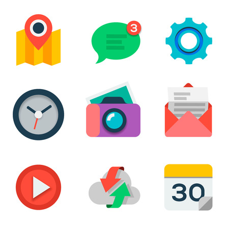 Flat icon set for web and mobile application Vector