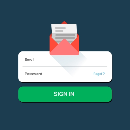 E-mail Flat icon, with log in button Illustration