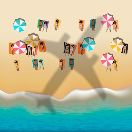 Summer beach with sunbathing people Stock Vector - 23473190
