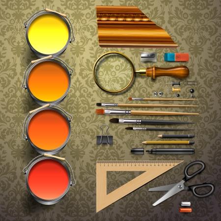 Group art supplies  向量圖像
