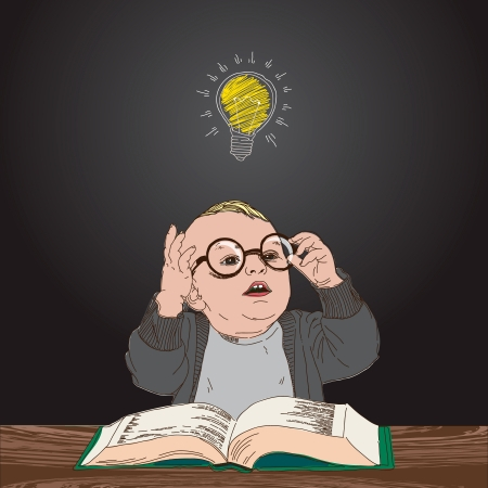 Kid with book and bulb above his head