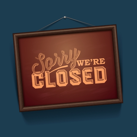 closed sign: We are Closed Sign - vintage sign