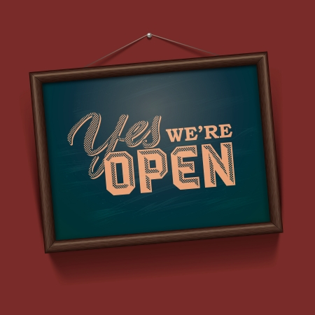 We are Open Sign - vintage sign Vector