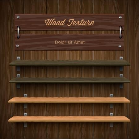 newsstand: Blank wooden bookshelf