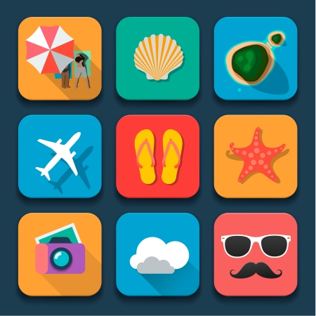 Summer traveling icons, Fat design trend, vector Eps10.