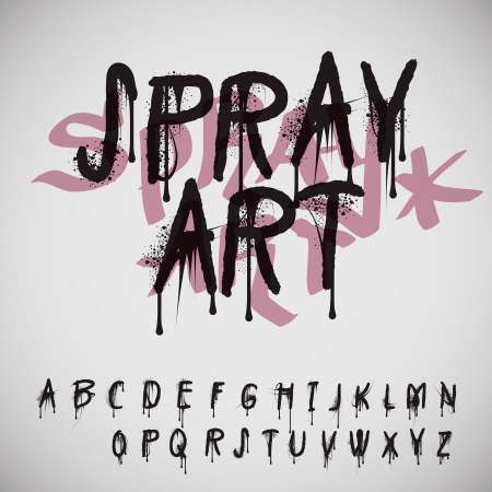 Graffiti splash alphabet, vector Eps10 image.