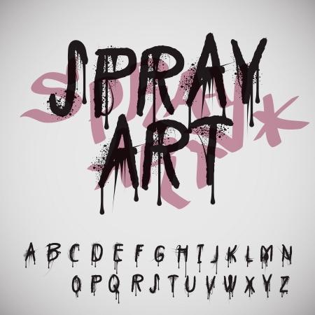 Graffiti Spritz Alphabet, Vektor Eps10.
