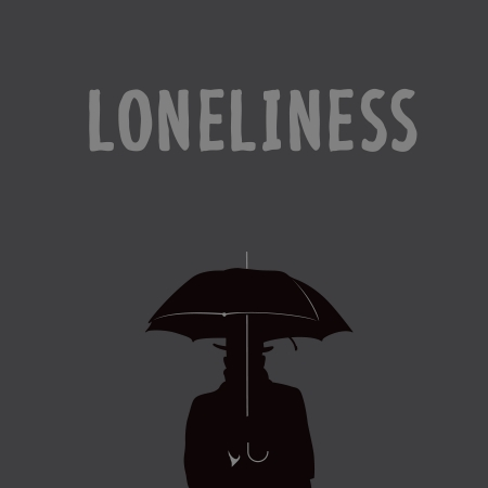 Silhouette of the lonely man under an umbrella, vector Eps10.