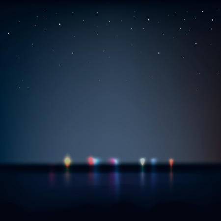 defocussed: Night city view from the coast, vector Eps10 illustration.