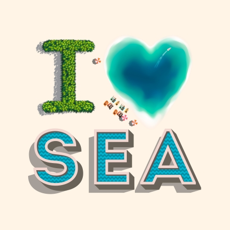 tree top view: I love sea, vector Eps10 illustration.