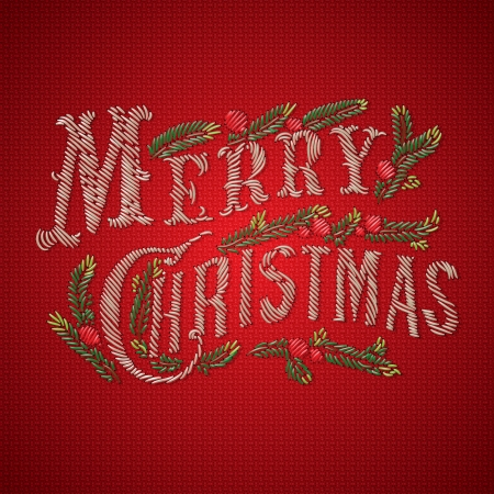 Embroidered Merry Christmas card, vector Eps10 image.