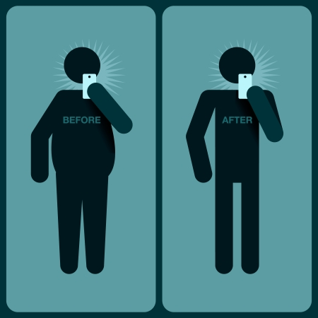 Before and after a diet, silhouette of man Vector