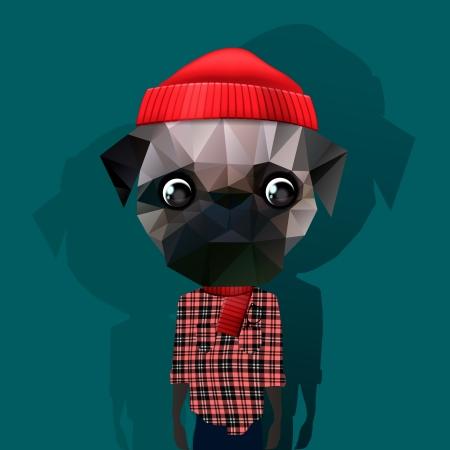 Leuke mode Hipster Animal Vector Illustratie