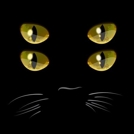 dark eyes: Closeup portrait of black cat with four eyes Illustration
