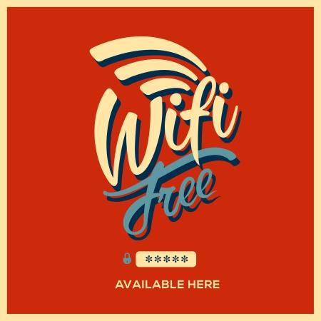 wifi: Free wifi symbol retro style