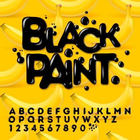 is wet: Black oil painted alphabet, vector Eps10 illustration.