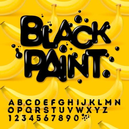 alphabet: Black oil painted alphabet, vector Eps10 illustration.