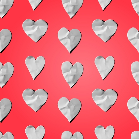 art and craft: Paper hearts - seamless art craft pattern, vector eps10 image. Illustration