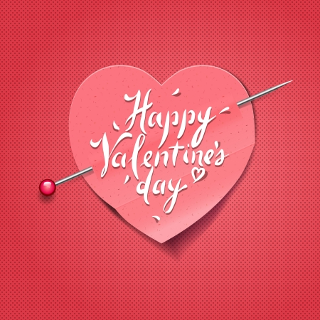 Valentines Day card with paper heart shaped Vector