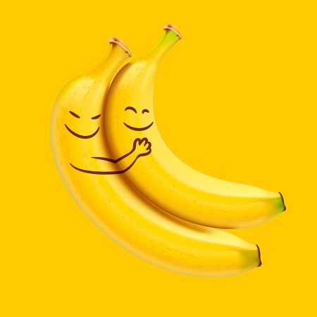 Funny sleeping bananas illustration.