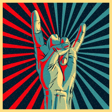 index finger: Hand in rock n roll sign illustration. Illustration