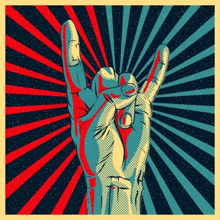 heavy metal music: Mano nella rock n roll segno illustrazione.