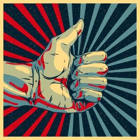 fist up: Hand showing thumbs up illustration. Illustration