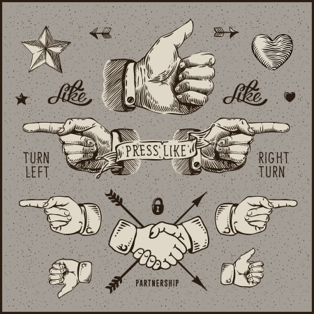 Bundle design elements - thumb up, pointer, handshake, vintage gravure style. Vector