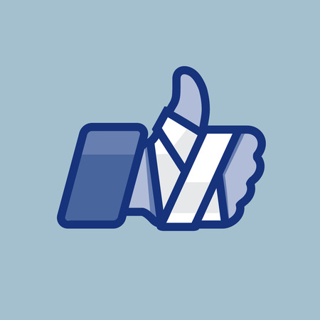 Repaired bandaged arm thumb up. Vector Eps10 icon for medical or health care design. Vector