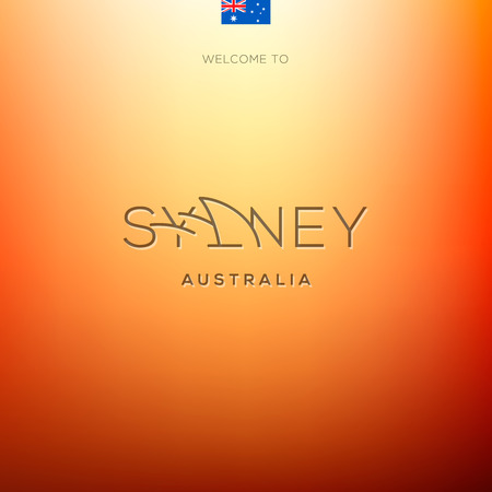 World Cities labels -Sydney . Vector Eps10 illustration.