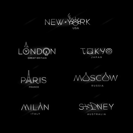 World Cities labels - New York, Milan, Paris, London, Tokyo, Moscow, Sydney. Vector