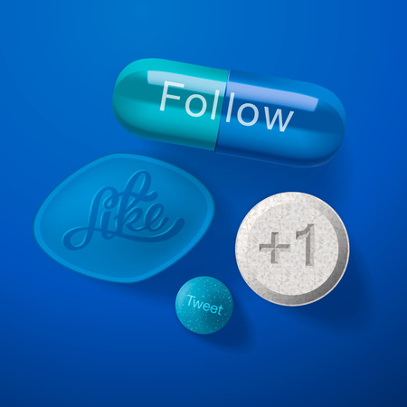 Social media addiction concept, pills capsules isolated on blue Vector