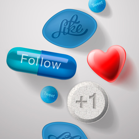 Social media addiction, pills capsules isolated Vector