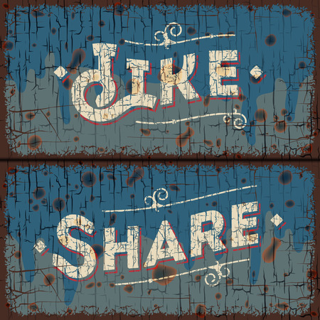 Like, share words - social media concept - text on vintage sign Vector
