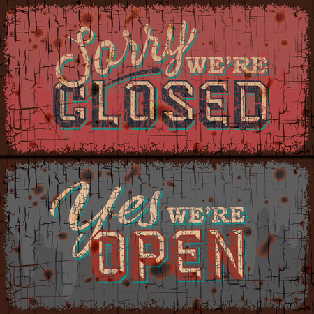 closed sign: Open and Closed Sign - information retail store Illustration