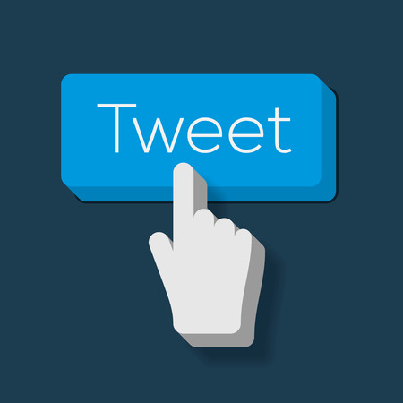 Tweet button with Hand Shaped Cursor, vector Eps10 image. Vector